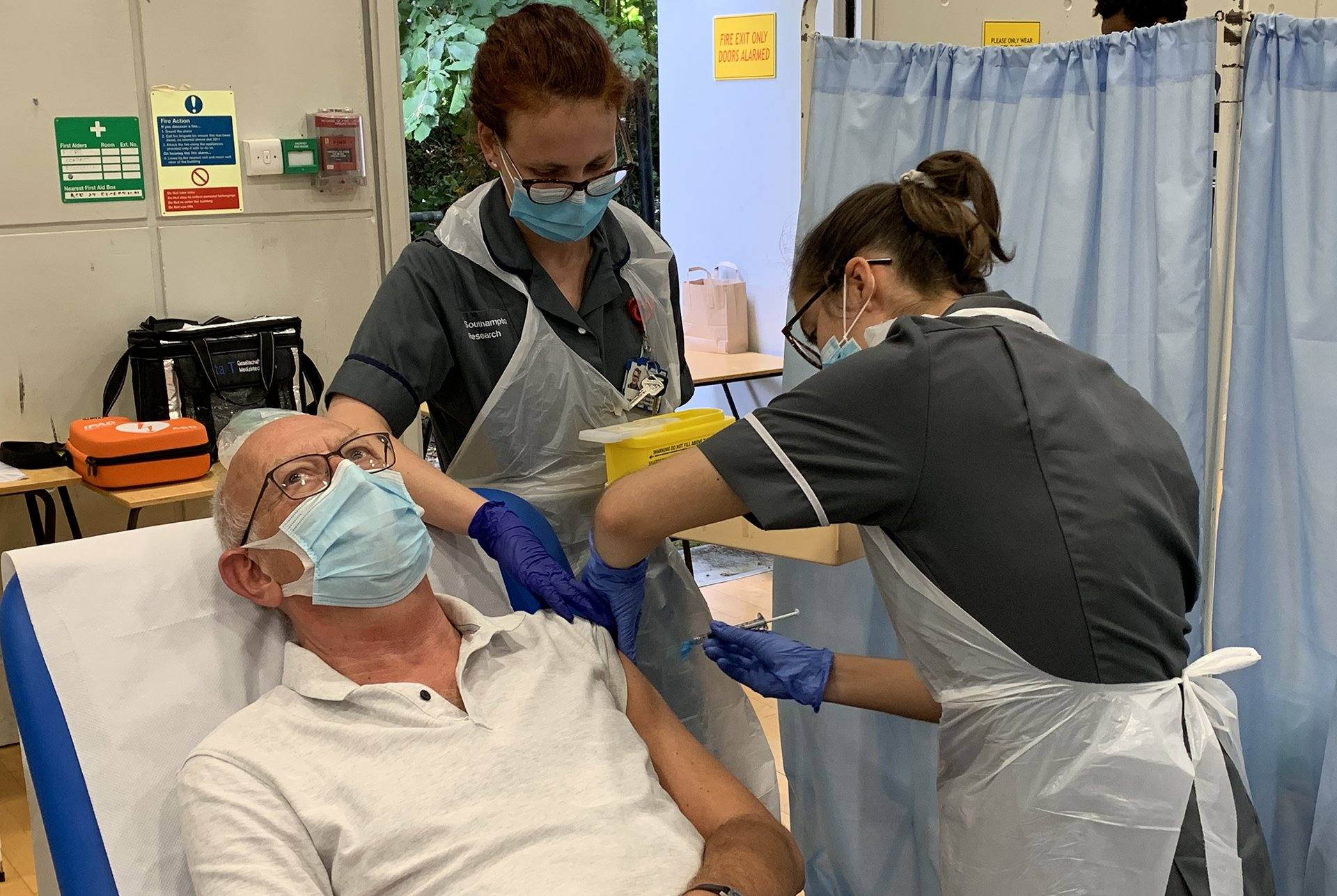 A volunteer receives the vaccine in Southampton