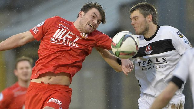 Action from Portadown against Crusaders