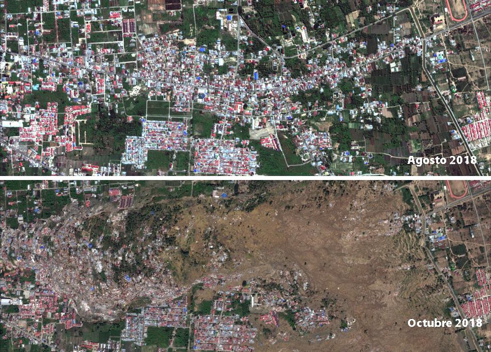 Imágenes que muestran el vecindario de Balaroa antes y después del tsunami