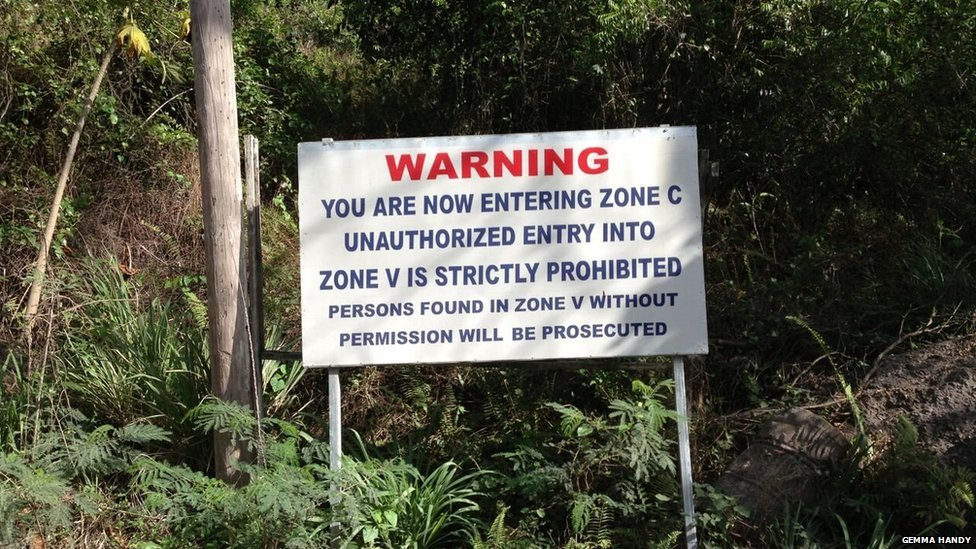 A picture of a poster marking the exclusion zone on Montserrat