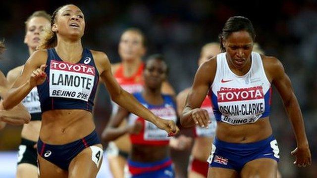 Shelayna Oskan-Clarke crosses the line first in her 800m World Championship heat