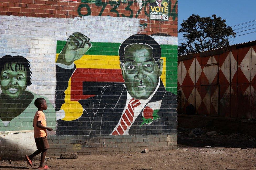 A boy walks past a mural of former Zimbabwean President Robert Mugabe on July 29, 2018 in Harare, Zimbabwe.