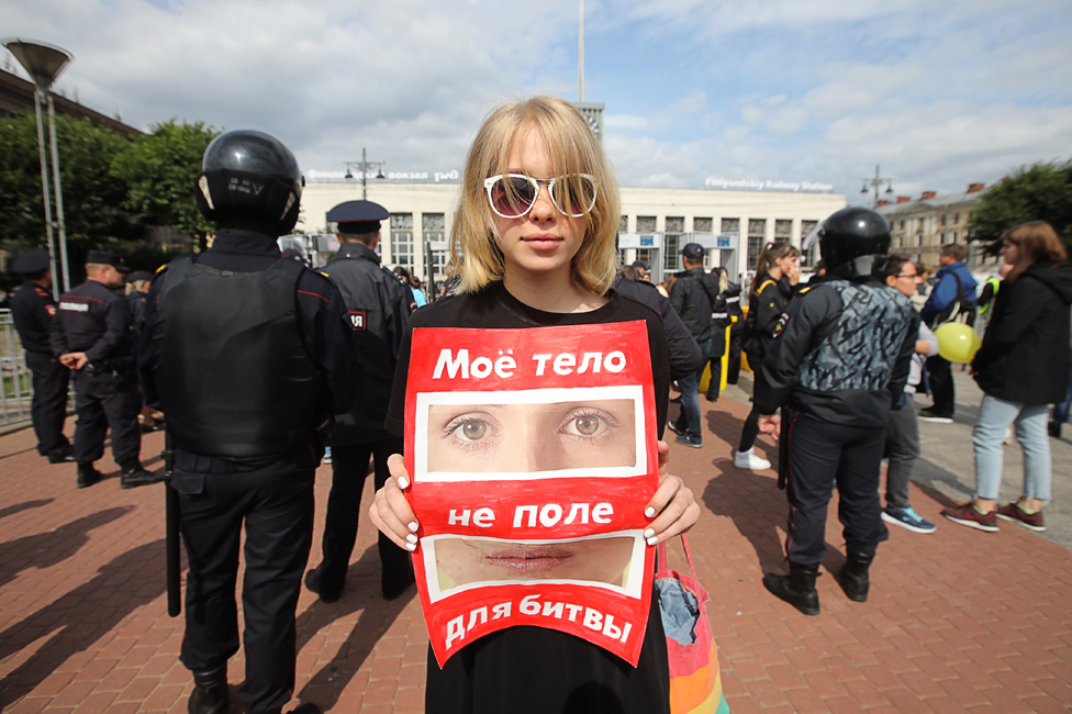 "Demonstrator in St Petersburg - the sign says, ""My body is not a battlefield"""