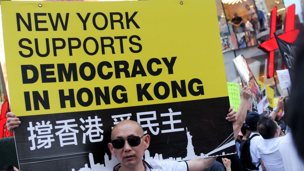 A protestor at an anti-extradition rally in New York