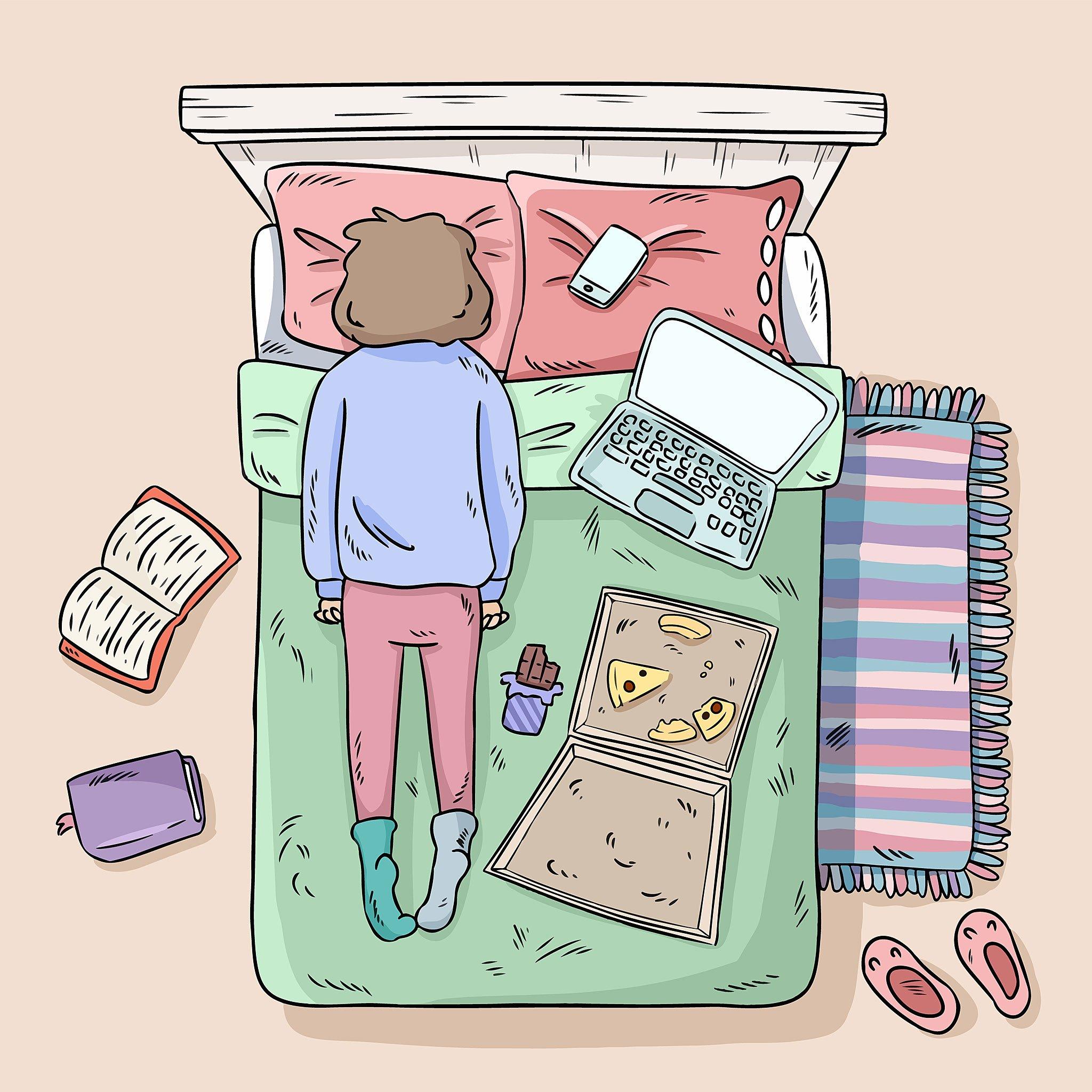 Retrato del aislamiento: mujer en cama con libros, computadoras, pizza y chocolate.