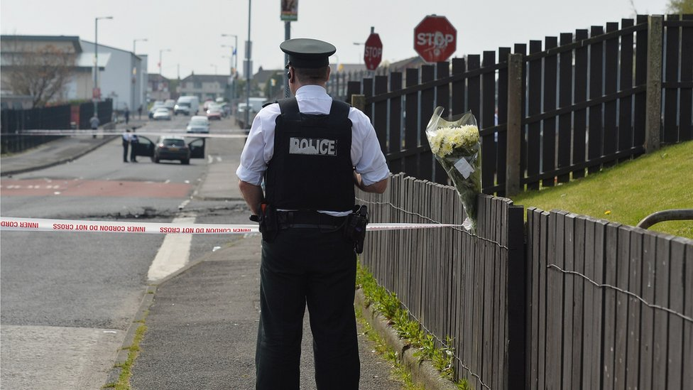 Police officer at the scene of the shooting of Lyra McKee