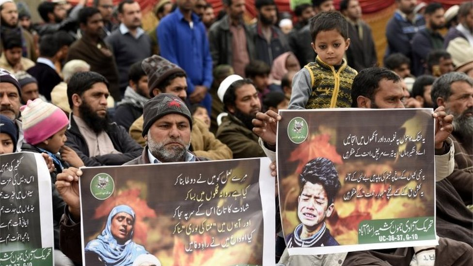 People listen to a speaker during a protest to show solidarity with Kashmiris living in Indian-administered part, on Kashmir Solidarity Day, in Islamabad, Pakistan, 05 February 2019.