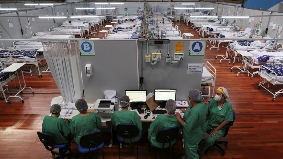 Enfermeiras em hospital de Santo André, em São Paulo