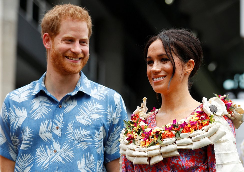 Prince Harry, Duke of Sussex, and Meghan, Duchess of Sussex, visit the University of the South Pacific on 24 October 2018 in Suva, Fiji