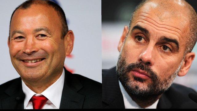 England head coach Eddie Jones and Bayern Munich boss Pep Guardiola