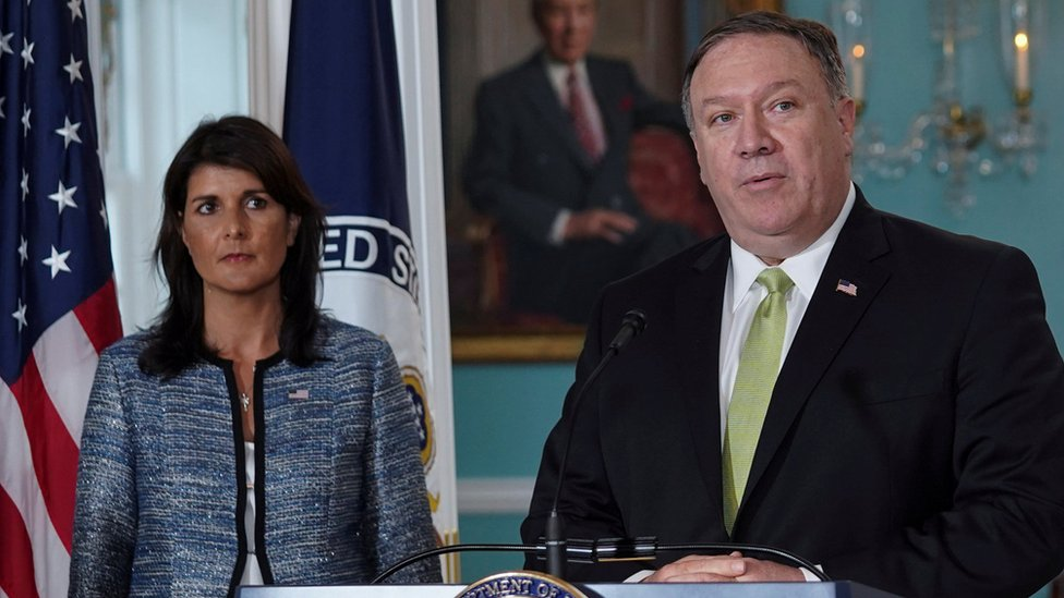 Nikki Haley y Mike Pompeo