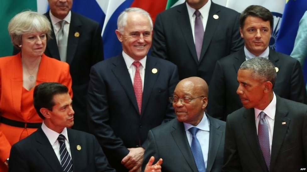 Theresa May and other world leaders at the G20 summit