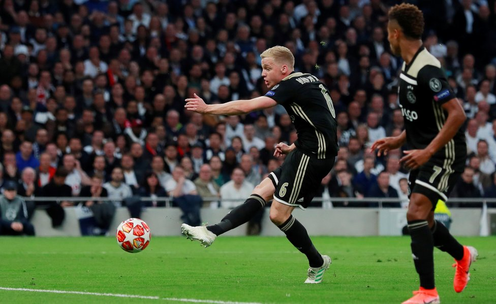 Donny van de Beek's away goal at Spurs gave Ajax the advantage ahead of the semi-final second leg on Wednesday night