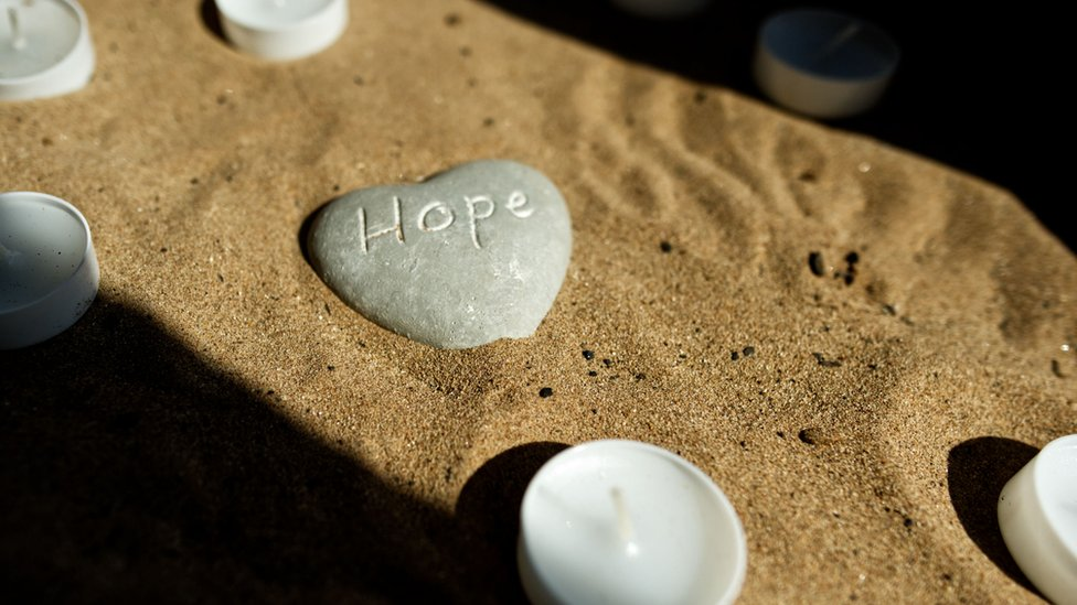 An inscribed pebble in St Helena Hospice chapel