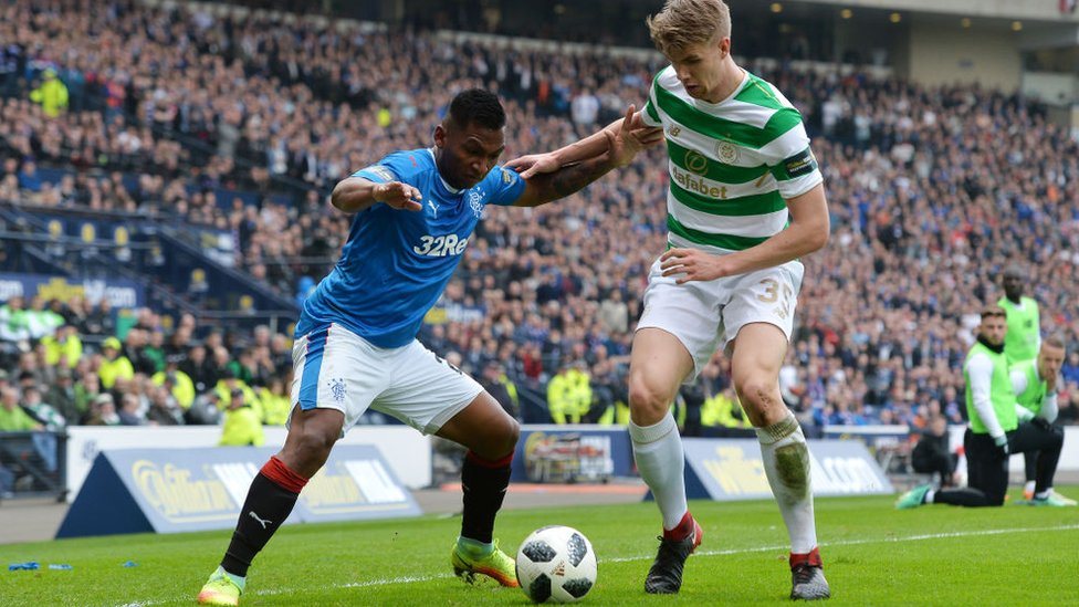 Alfredo Morelos of Rangers is challenged by Kristoffer Ajer of Celtic during the Scottish Cup Semi Final match between Rangers and Celtic at Hampden Park on April 15, 2018