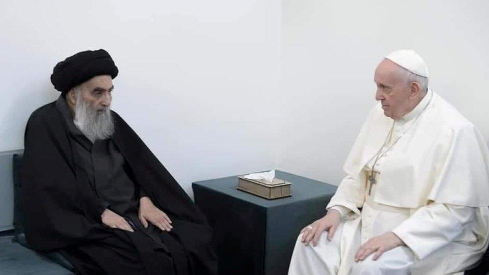 أية الله السيستاني والبابا فرانسيس