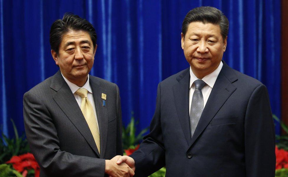 2014年11月,安倍晉三與習近平歷史性破冰會晤。