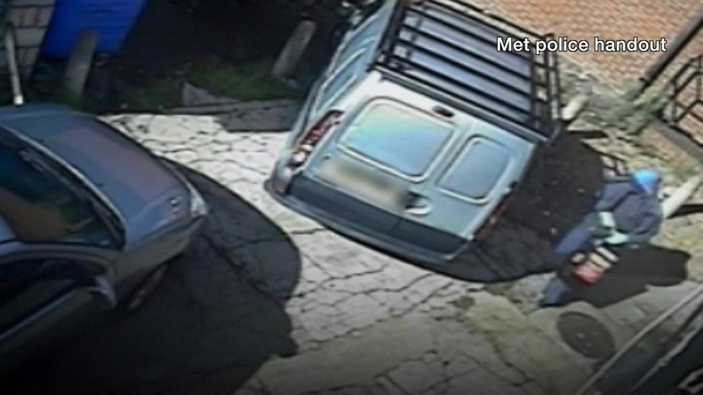 Robber with underpants on head walks into van