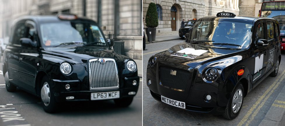 Metrocab (right), London taxi (left)