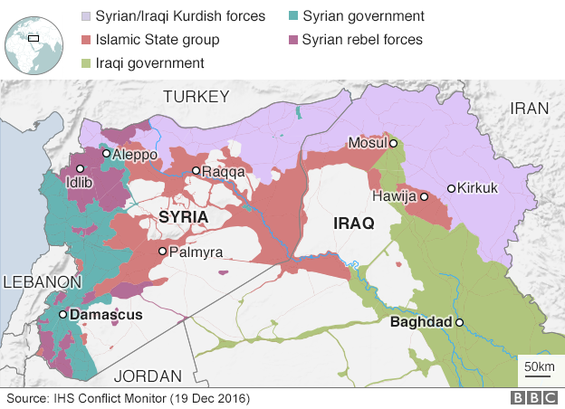 Map showing control of Syria and Iraq (19 December 2016)