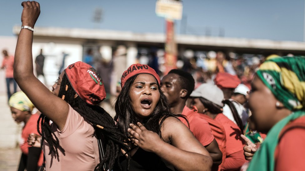 Workers, organised by South Africa's largest union, the Congress of South African Trade Unions, protest on May 1