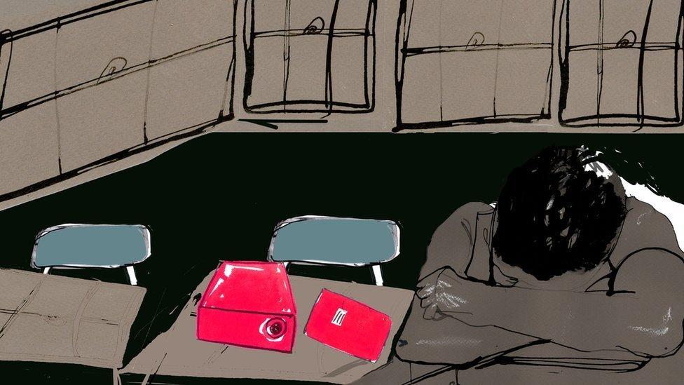 Ilustración de niño en la escuela.