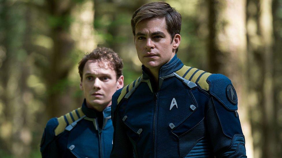 Anton Yelchin and Chris Pine in Star Trek Beyond
