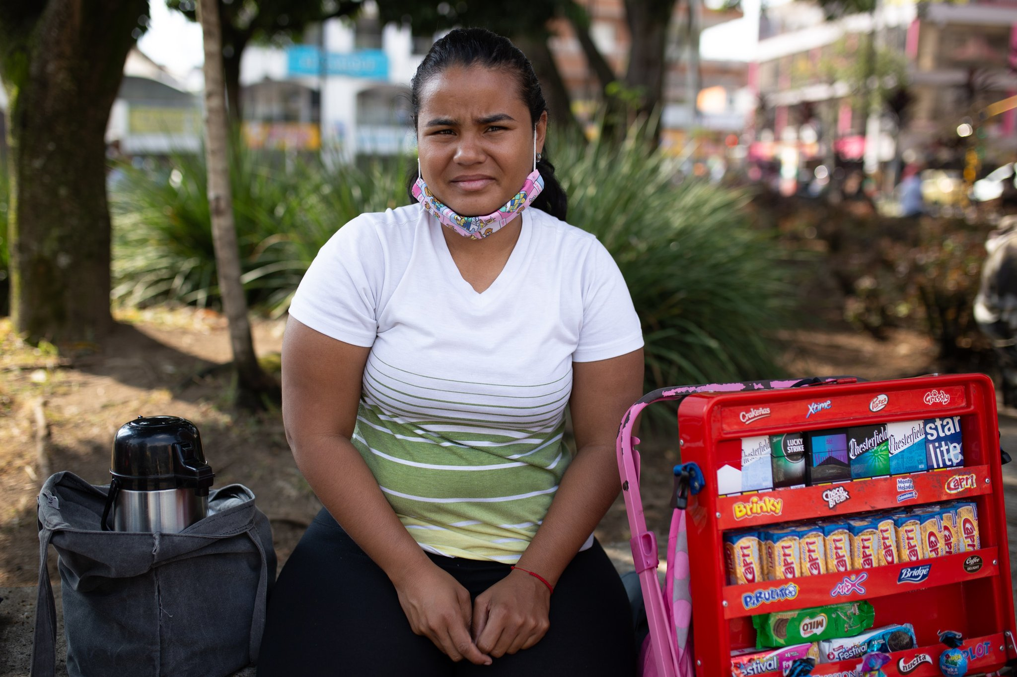 Danexi Andrade selling sweets in Medellin