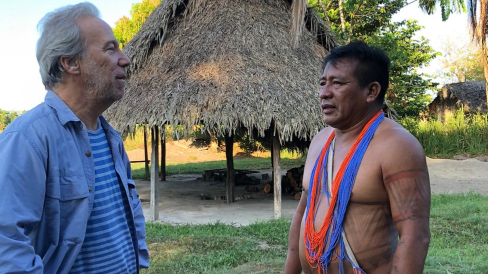 Dr Mark Plotkin with a chief from the Sikiyana tribe on the Brazil-Suriname border