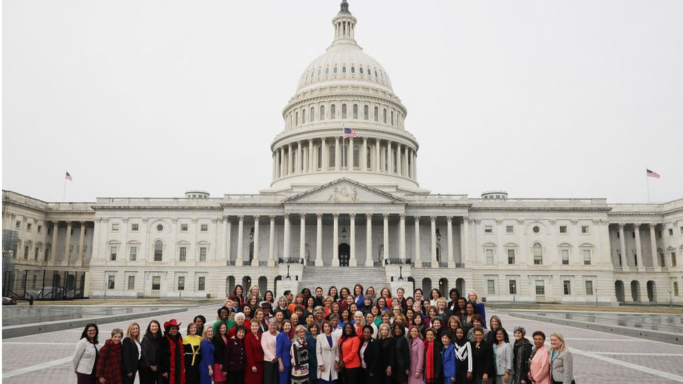 Speaker Nancy Pelosi (D-CA) (C front row) poses for photographs with all of her fellow House Democratic women in front of the U.S. Capitol January 04, 2019 in Washington, DC. The 116th Congress has the biggest number of female members ever while the number of Democratic women in the House has grown from 16 to 89 since 1989.