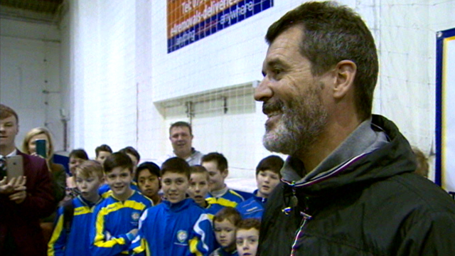 Former Manchester United and Republic of Ireland captain Roy Keane speaking to school children