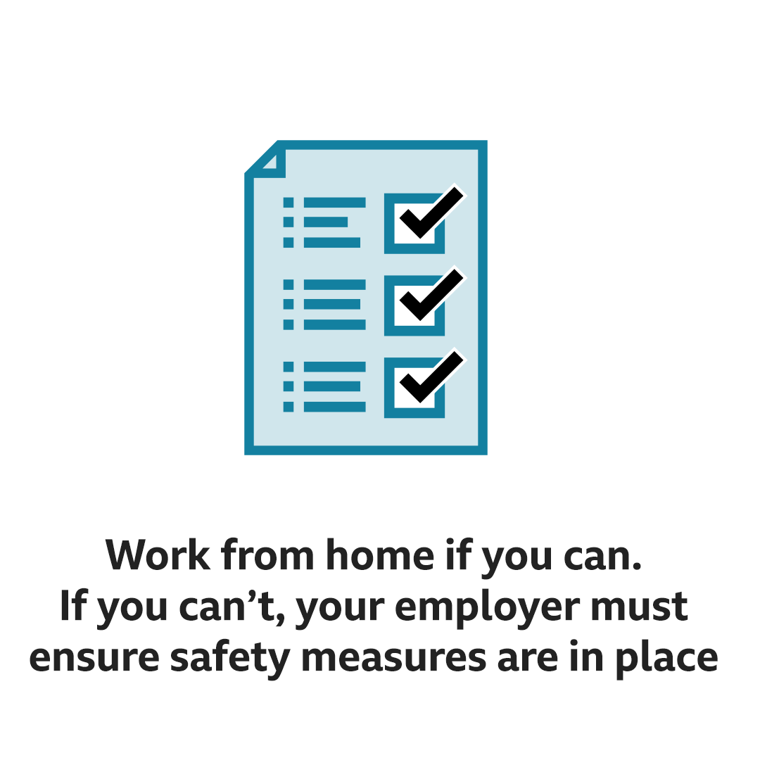 Work from home or go back to work if safety measures are in place
