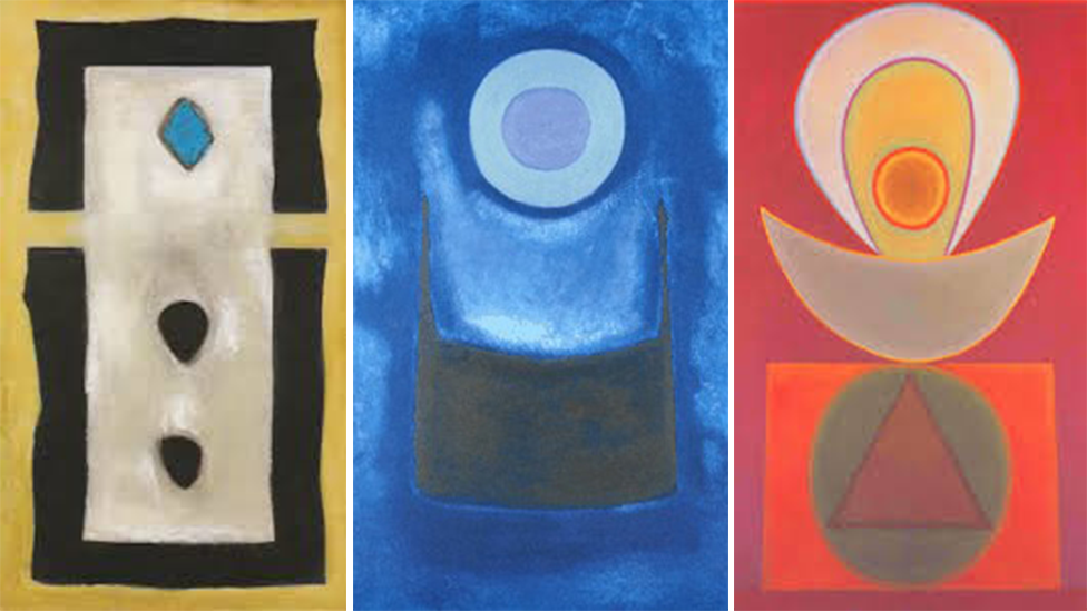 A composite image of three Benjamin Creme paintings