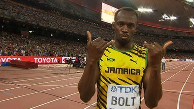 Usain Bolt before his heat in the 200m at the World Championships in Beijing.