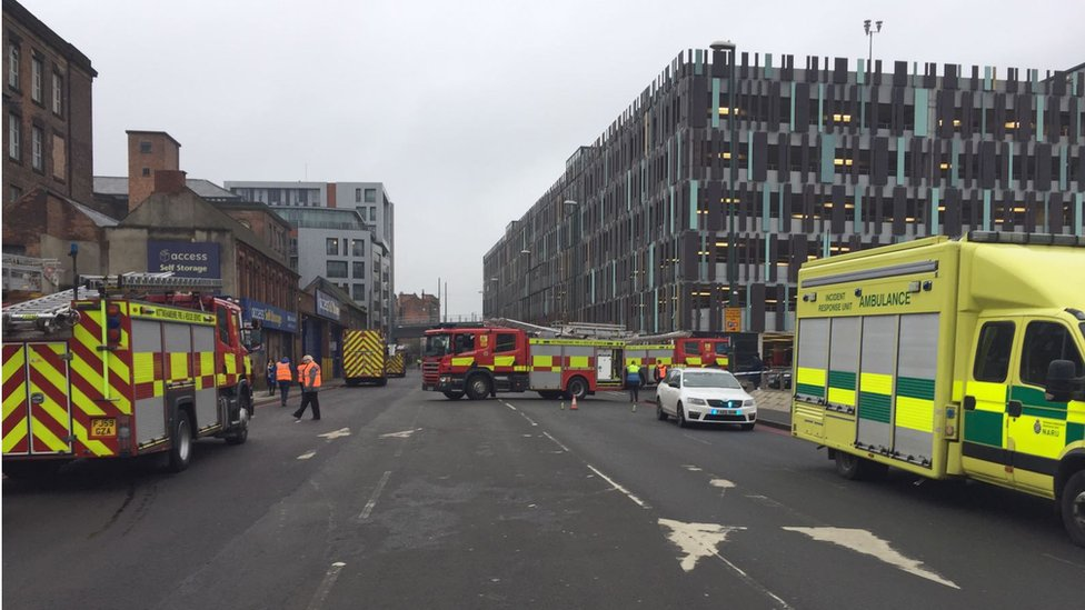 Emergency services near the scene of the fire