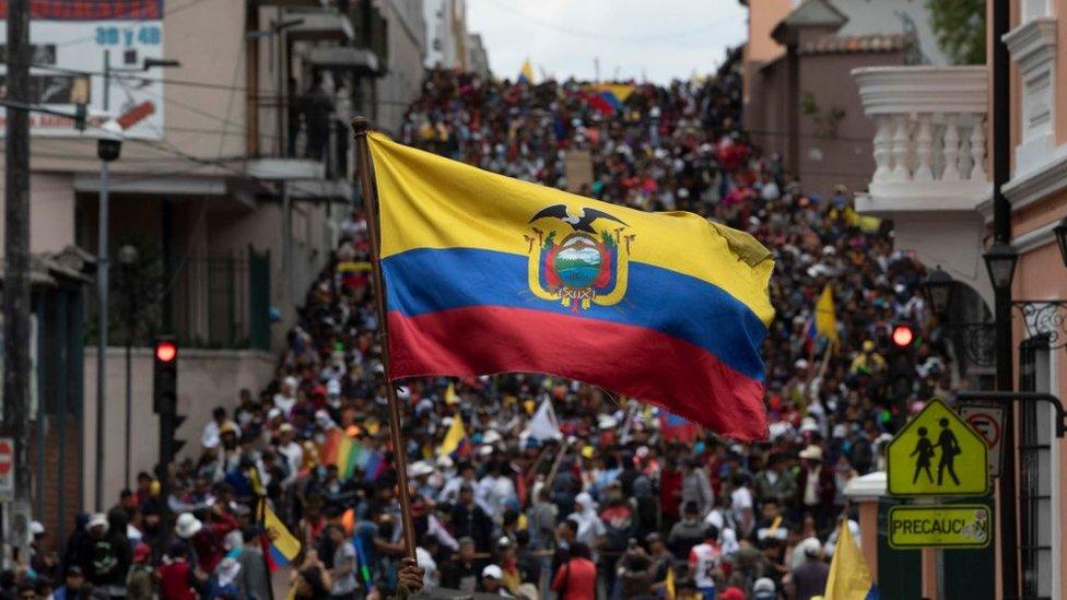 Protesta en Ecuador.