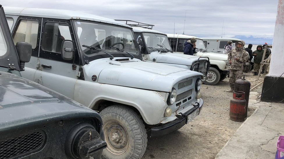 - UAZ that are used during the chase to capture kulans. Photo taken at the house of the park's guards