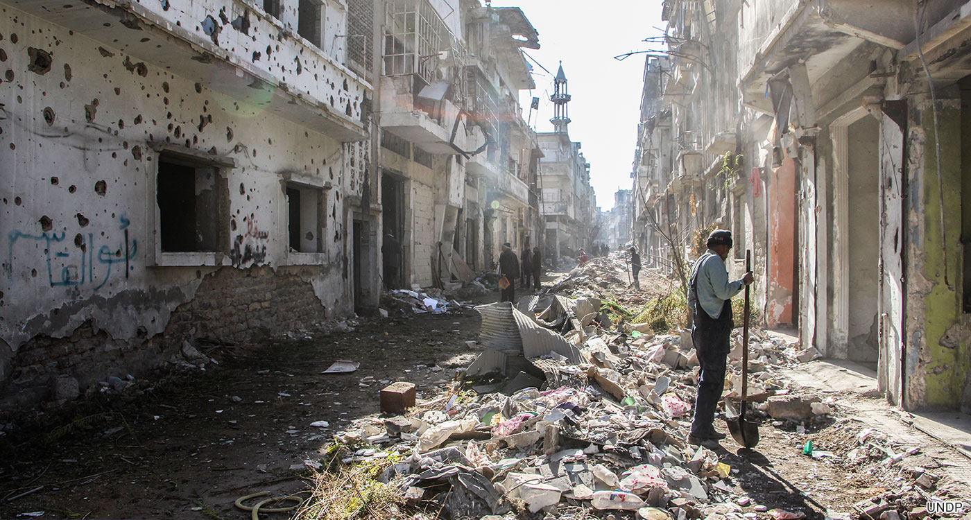 Debris clean up in Homs, Syria