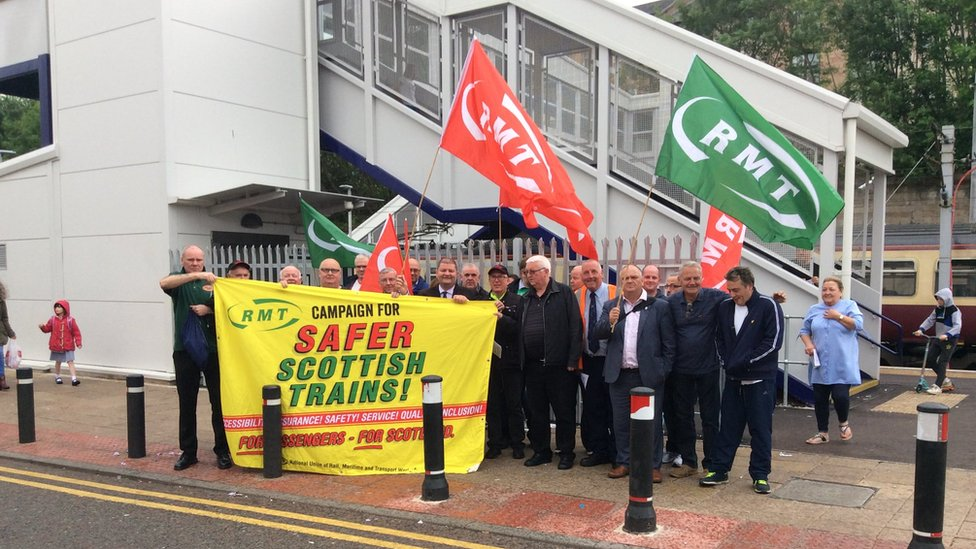 RMT protest at Hamilton Central Station
