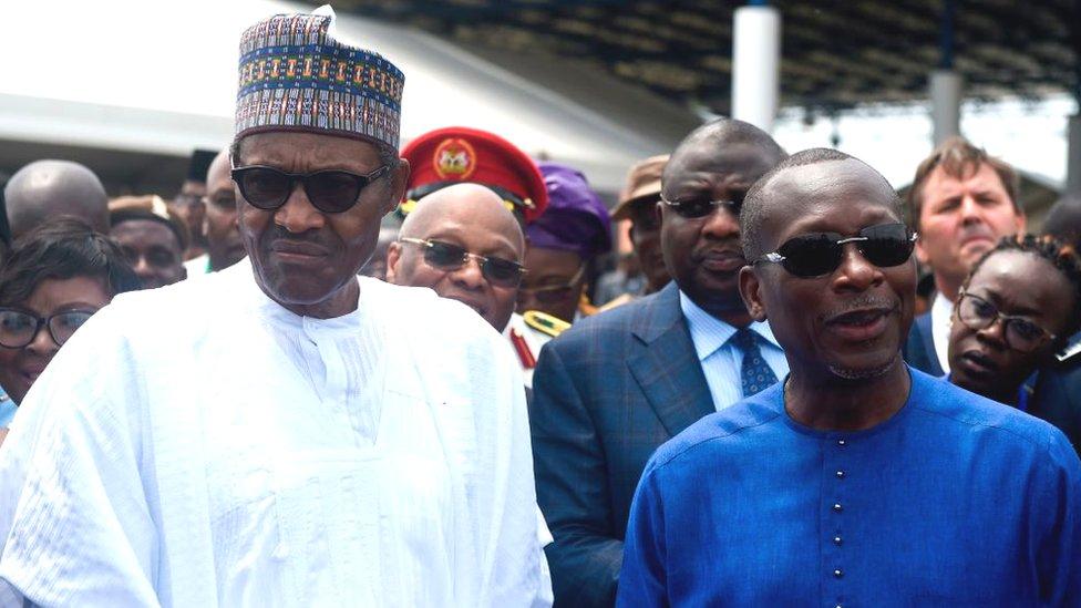 Presidentes Muhammadu Buhari y Patrice Talon