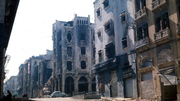 Damaged buildings in Beirut in 1980