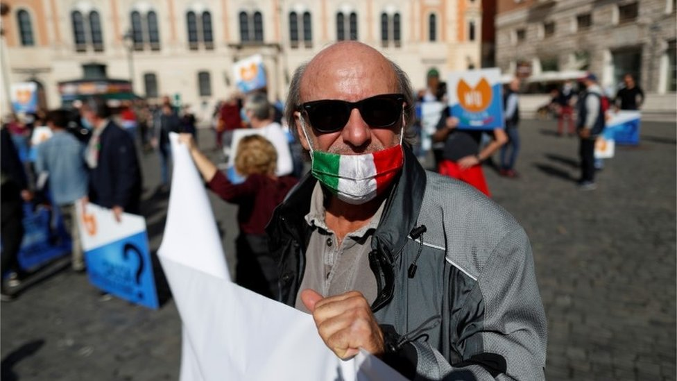 Italian protester against coronavirus measures