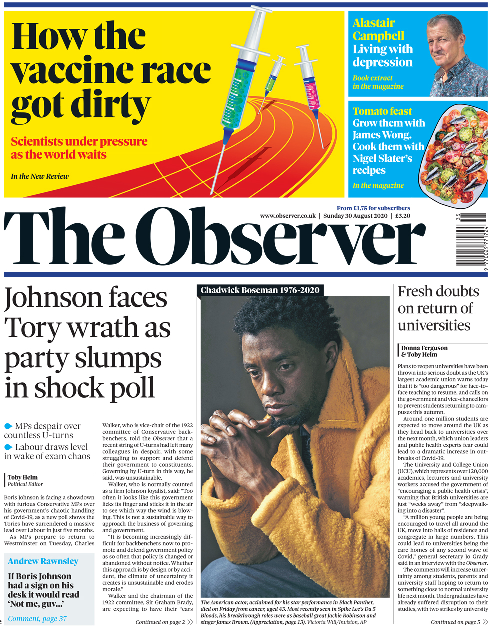 The Observer front page 30 August 2020