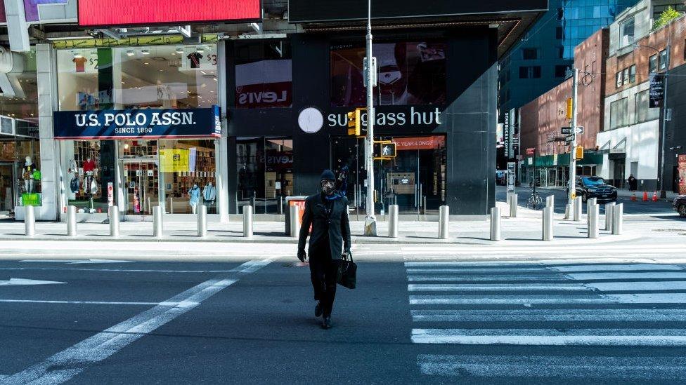 Calles de Nueva York vacías por el impacto de la pandemia.