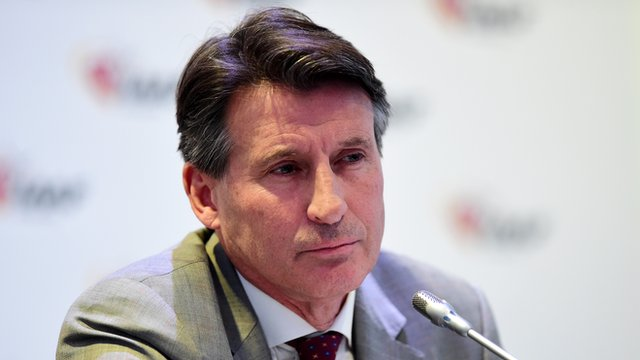 Lord Coe at a news conference in Monaco