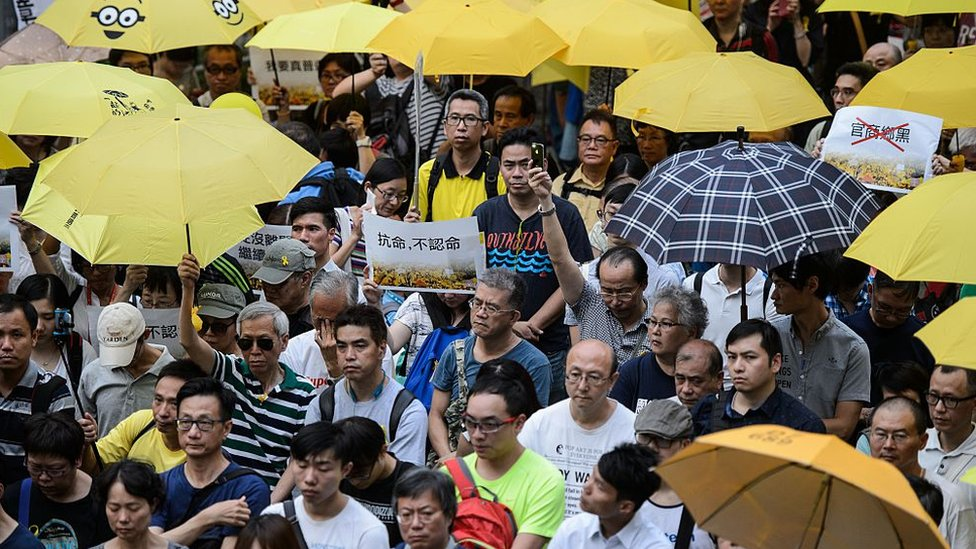 Protestantes de la llamada Revolución del Paraguas en 2014