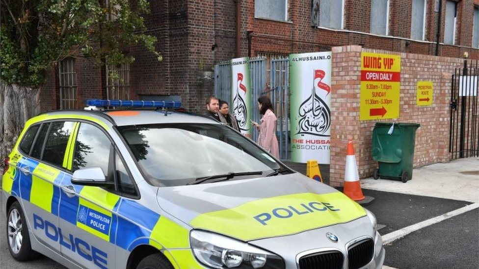 Three hurt as car 'swerves into crowd' outside Islamic Centre