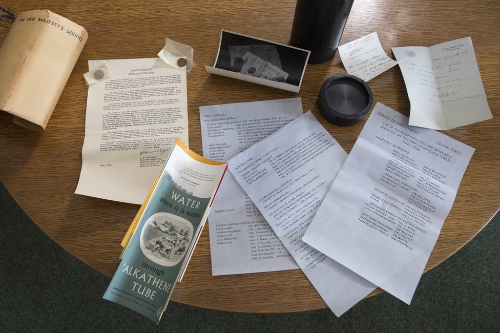 Contents of time capsule found in the Elizabeth Tower during conservation works