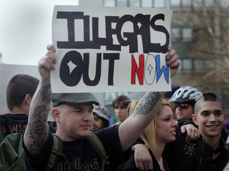 Una protesta contra la inmigración indocumentada