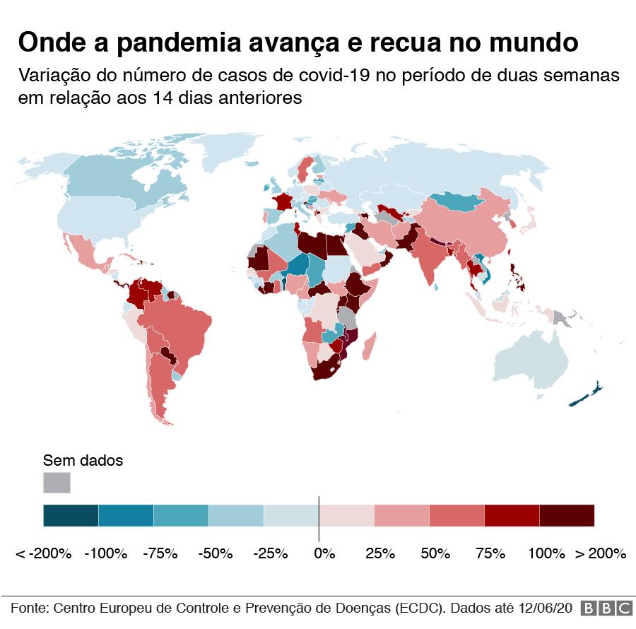gráfico com mapa de onde a pandemia cresce e recua